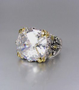 *NEW* Designer Inspired Clear CZ Crystal Silver Gold Balinese Filigree Ring