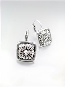 CLASSIC Brighton Bay Silver Scroll Filigree Square Leverback Dangle Earrings