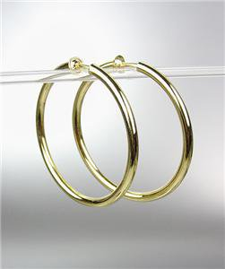 """CLASSIC Lightweight GOLD Metal Round 1 3/4"""" CLIP ON Hoop Earrings"""
