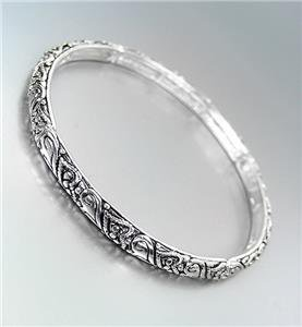 CLASSIC Thin Brighton Bay Silver Heart Filigree Stretch Stackable Bracelet