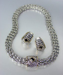 Designer Style Silver Cable Gold Black Onyx Crystal Magnetic Mesh Necklace Set