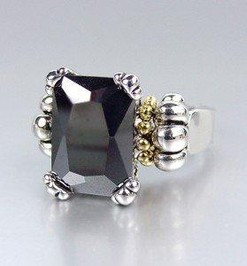 CLASSIC Silver Emerald-cut Black Onyx CZ Crystal Glacier Ring