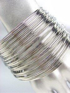CHIC 44 PC Thin Silver Metal Plus Size Wide Bangle Bracelet