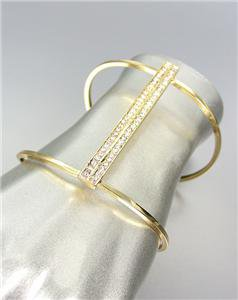 CHIC UNIQUE Sculpted Curved Gold Metal Wire CZ Crystals Bar Cuff Bracelet