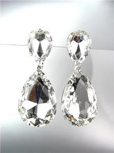 GLITZY Clear Czech Crystals Bridal Queen Pageant Prom Earrings 2631