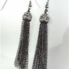 CHIC Urban Anthropologie Antique Gun Metal Marcasite Crystals Tassel Earrings