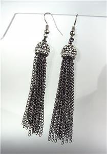 CHIC Urban Anthropologie Antique Gun Metal Marcasite Crystals Tassel Earrings
