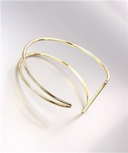 UNIQUE Sculpted Urban Anthropologie Gold Metal Wire Graduated Cuff Bracelet