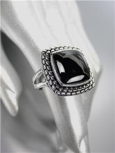 CLASSIC Brighton Bay Silver Balinese Weave Cable Filigree Black Onyx Square Ring