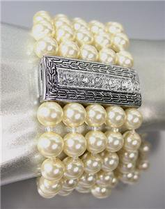 CLASSIC Brighton Bay Silver Cable CZ Crystals Creme Pearls Magnetic Bracelet