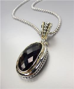 GORGEOUS Faceted Black Onyx Stone Silver Dots Scallop Pendant Chain Necklace