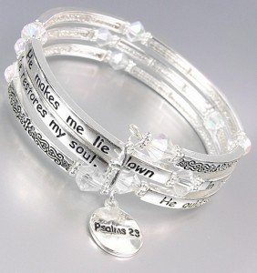 Inspirational Silver Twist Wrap PSALMS 23 Scripture Crystals Charms Bracelet