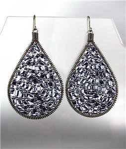 CHIC Hematite Peruvian Crystals Antique Metal Chandelier Dangle Earrings