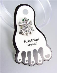 ADORABLE Sparkle Clear Austrian Crystals FROG Invisible PETITE Toe Ring