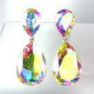 GLITZY Iridescent AB Czech Crystals Bridal Queen Pageant Prom Earrings 2631