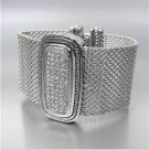 GORGEOUS Chunky Silver Cable Pave CZ Crystals Medallion Mesh Strap Bracelet