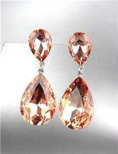 GLITZY Peach Czech Crystals Bridal Queen Pageant Prom Earrings 2631