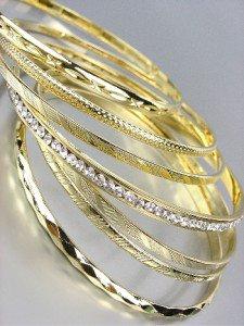 CHIC 7 PC Etched Gold Metal CZ Crystals Plus Size Wide Bangle Bracelets