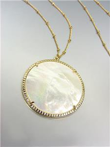 "GORGEOUS Urban Anthropologie Mother of Pearl Shell Gold Chain 30"" Long Necklace"