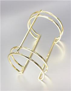 MODERN CHIC Sculptural Gold Ribbed Metal Long Wide Cuff Bracelet