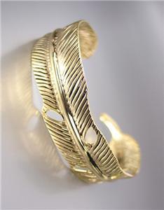 UNIQUE Natural Gold Texture Metal LEAF Cuff Bracelet
