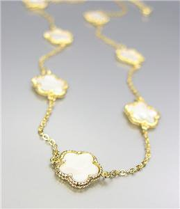 """CHIC 18kt Gold Plated 13pc Mother Pearl Shell CLOVER CLOVERS 32"""" Long Necklace"""