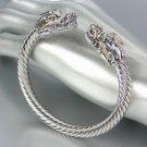 UNIQUE Designer Inspired Silver Gold Dragon Cable Cuff Bracelet