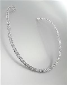GORGEOUS Twist Braided Silver Round Collar Choker Necklace