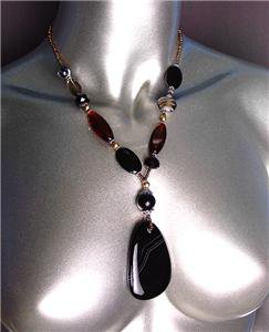 STYLISH Natural Marble Agate Stone Smoky Brown Black Onyx Beads Necklace Set