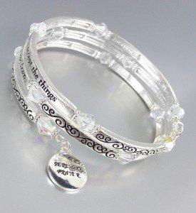 Inspirational Silver Twist Wire Wrap SERENITY PRAYER Crystals Charms Bracelet