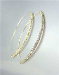CHIC & STYLISH Thin GOLD Rhinestone Crystals Metal Wire THREADER Dangle Earrings
