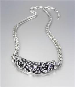 CLASSIC Brighton Bay Silver Black Filigree Medallion Cable Chain Necklace