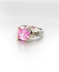 GORGEOUS Designer Style Balinese Silver Cable Gold Pink Rose CZ Crystal Ring