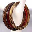 EXOTIC 3 PC Thin Faux Brown Zebra Wood Amber Acrylic Bangles Bracelet Set