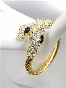 EXOTIC Basketball Wives Gold Cable CZ Crystals Snake Cuff Statement Bracelet