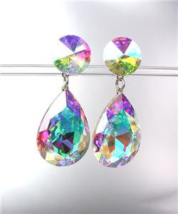GLITZY Iridescent AB Czech Crystals Bridal Queen Pageant Prom Dangle Earrings