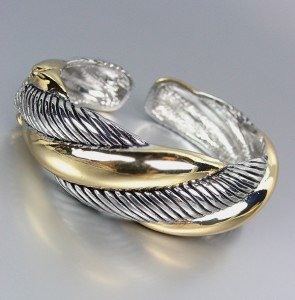 CLASSIC ELEGANCE Silver Cable Gold Hinged Cuff Bracelet