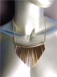CHIC Urban Anthropologie Graduated Gold Metal Wires Drape Necklace