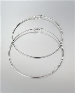 """CHIC Lightweight Thin Silver Metal LARGE 3 1/2"""" Diameter Hoop Post Earrings"""