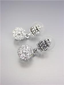 CLASSIC Brighton Bay Pave CZ Crystals Eternity Ball Caviar Glacier Earrings