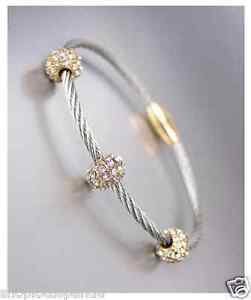 STUNNING Designer Style Pave CZ Crystals Balls Cable Magnetic Clasp Bracelet