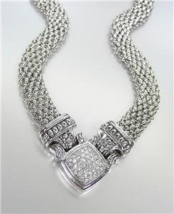 NEW Designer Inspired Silver Mesh Pave CZ Crystals Magnetic Clasp NECKLACE
