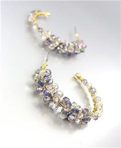 CHIC Urban Anthropologie Smoky Gray AB Czech Crystals Gold Hoop Earrings