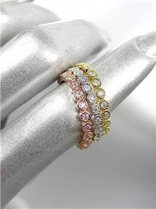 STUNNING 18kt White Rose Gold Plated CZ Crystals 3 PC 2mm Width Band Ring Set