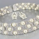 LUXURIOUS Elegant Creme Pearls CZ Crystals Choker Necklace Set Bridal Wedding