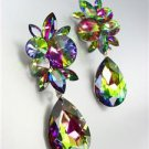 STUNNING Vitrail Medium Czech Crystals Bridal Pageant Prom Queen Earrings