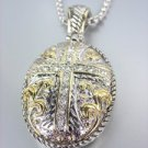 Designer Style Silver Gold Filigree CZ Crystals Cross Pendant Box Chain Necklace