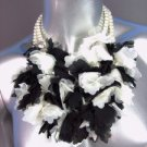 Designer Style Creme Pearls White Black Lace Floral Bridal Necklace Earrings Set
