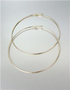 "CHIC Lightweight Thin Gold Metal LARGE 3 1/2"" Diameter Hoop Post Earrings"
