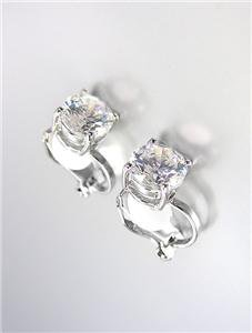 EXQUISITE 18kt White Gold Plated 1.25 CT 7mm CZ Crystal Solitaire CLIP Earrings